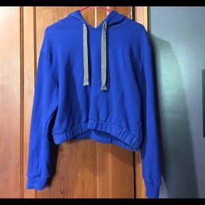 Blue cropped drawstring hoodie